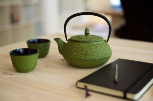 A pot of green tea to help the afternoon end.